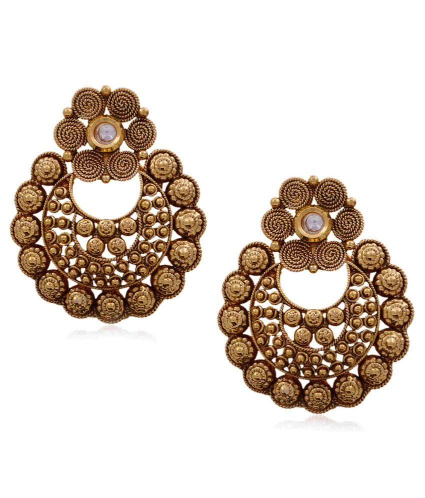 Hyderabad Jewels Golden Wedding & Engagement Wear Hanging Earrings