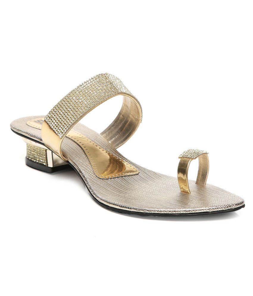 Pelle Originale Golden Platforms Heeled Slip-Ons