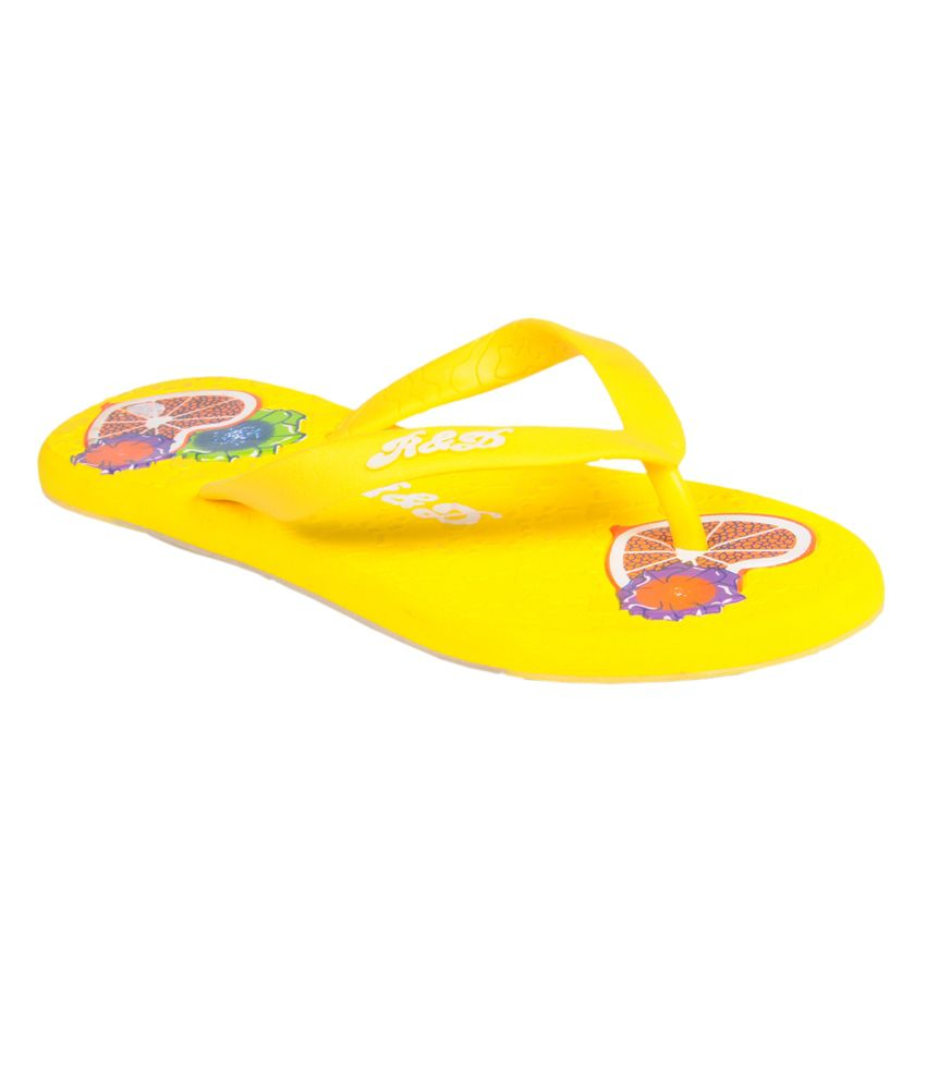 Trilokani Yellow Slippers For Women