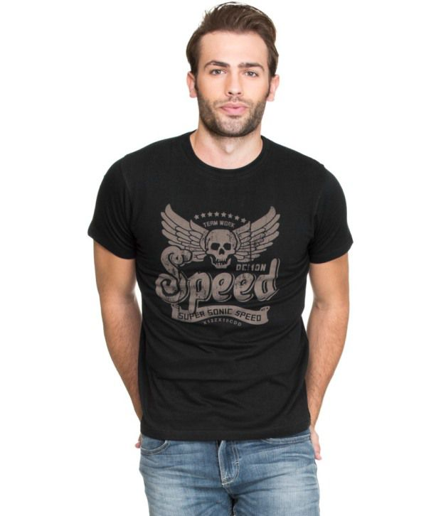 Zovi Black Cotton T Shirt