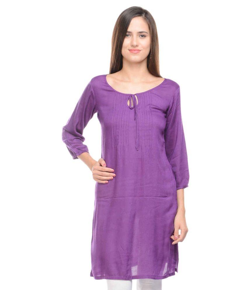 Lingra Purple Poly Rayon Kurti