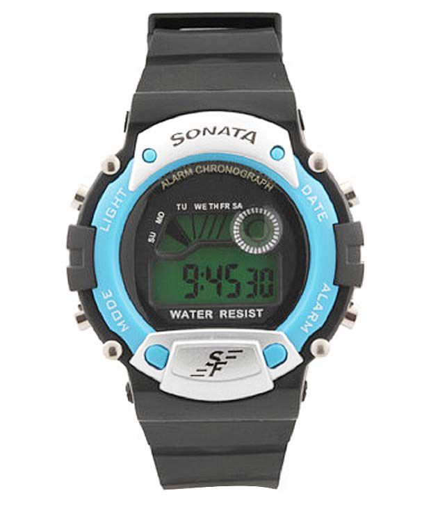 Sonata Black Round Digital Watch