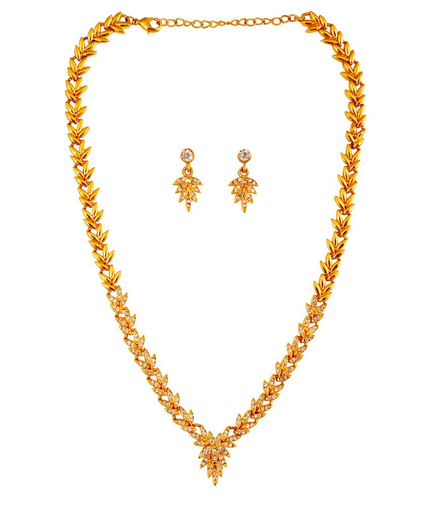 Touchstone Gold Plated Austrian Diamond Designer Necklace Set