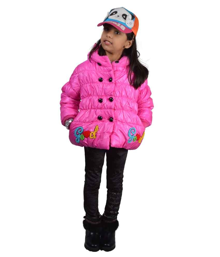 Baby Doll Pink Padded Jacket For Girls