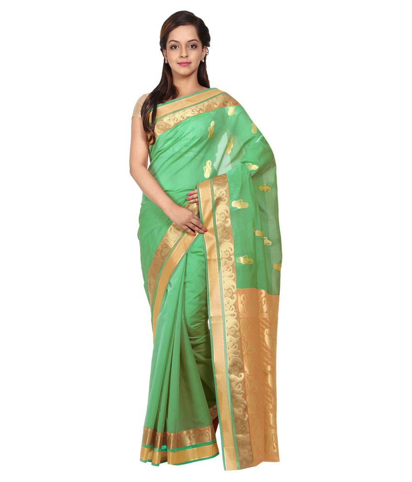 Platinum League Green Silk Saree