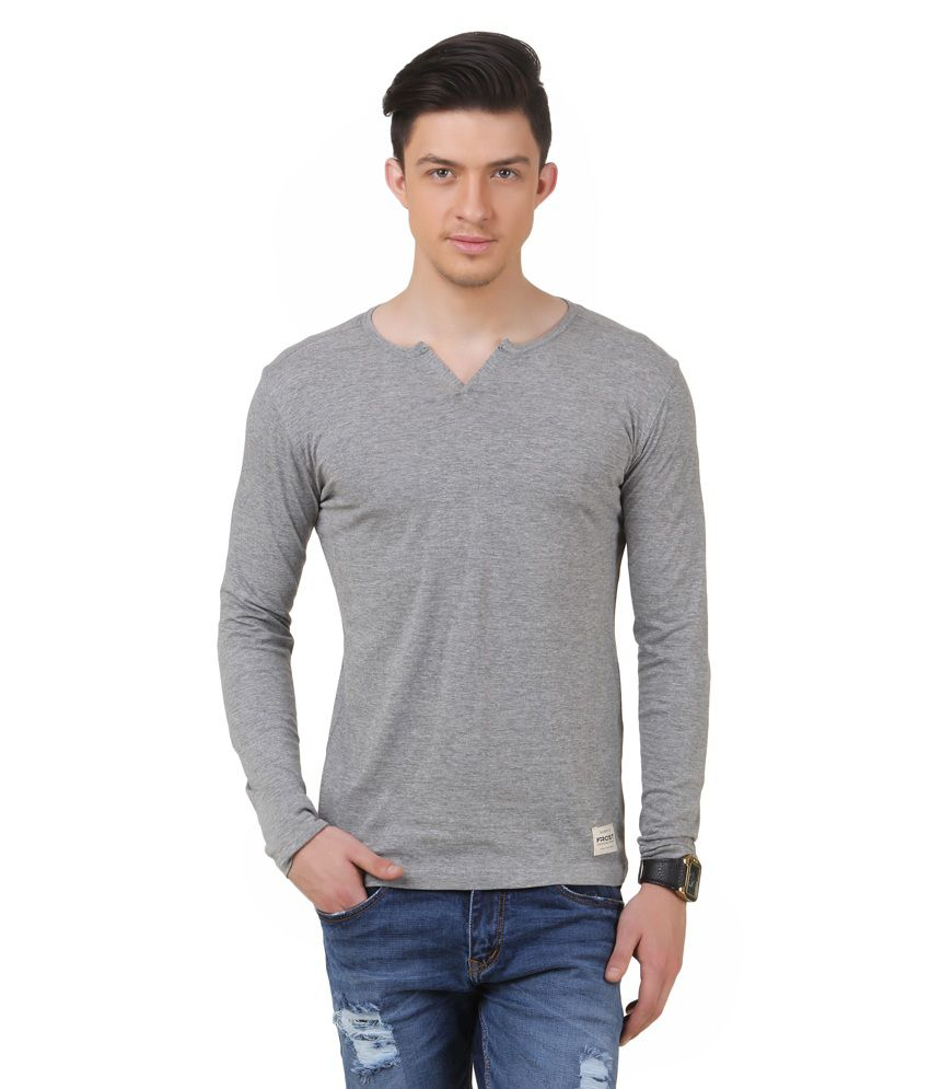 Frost Grey Cotton Blended Round Neck T-shirt