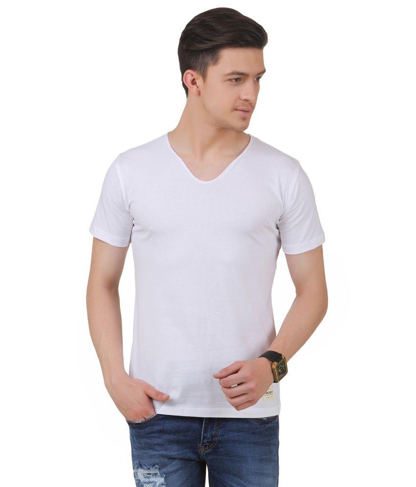 Frost White Cotton Blended V-neck T-shirt