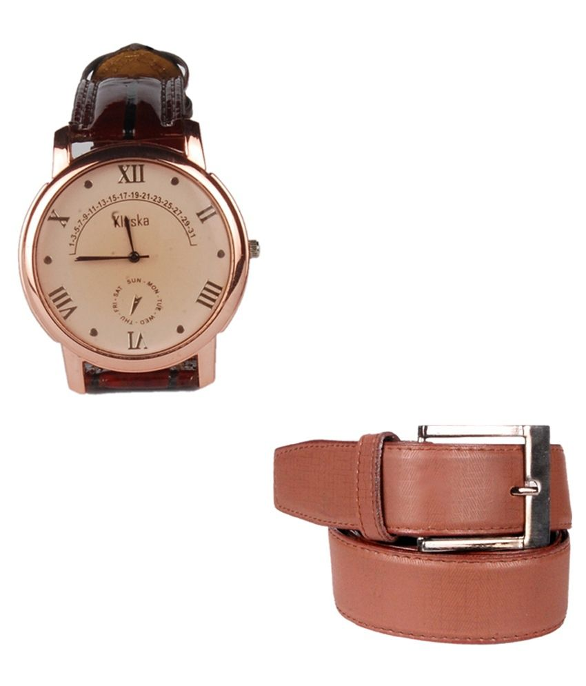Lenin Tan Leather Belt With Watch Combo