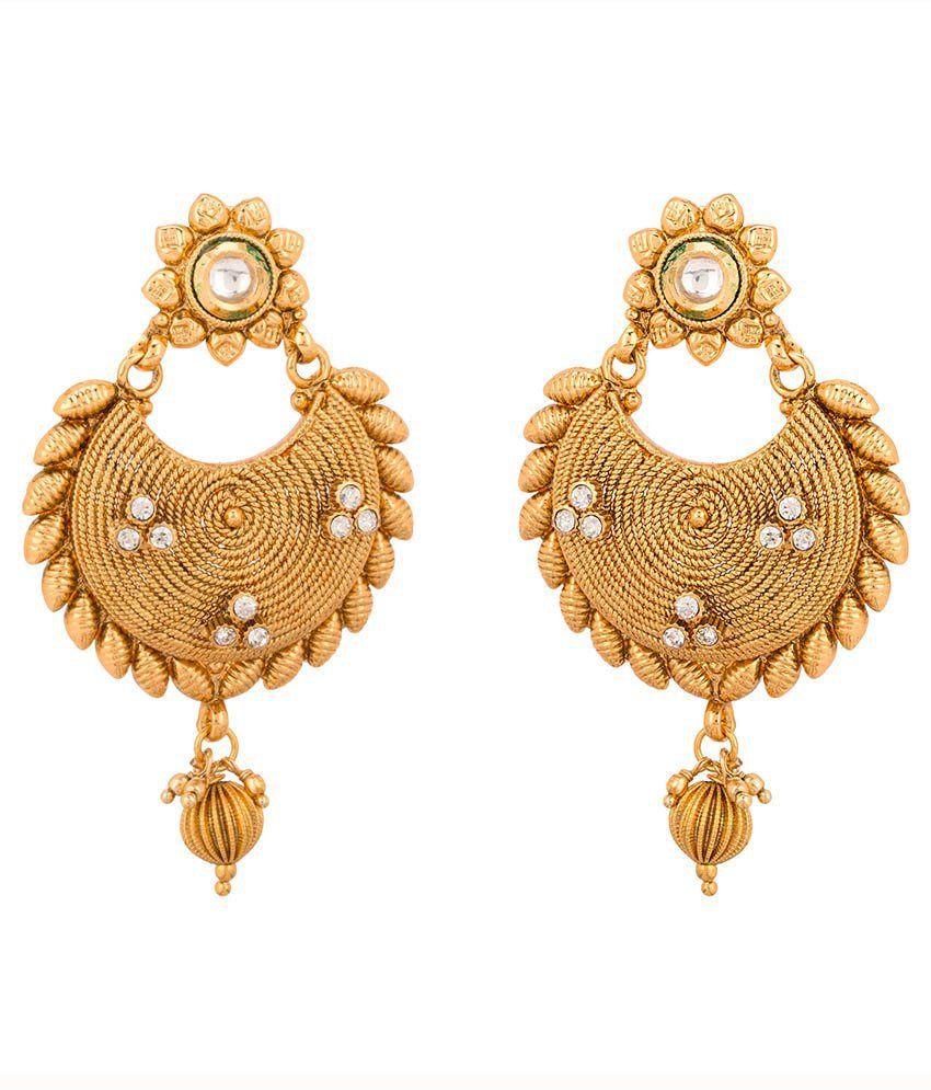 Rajwada Arts Gold Plated Chandbali Earrings