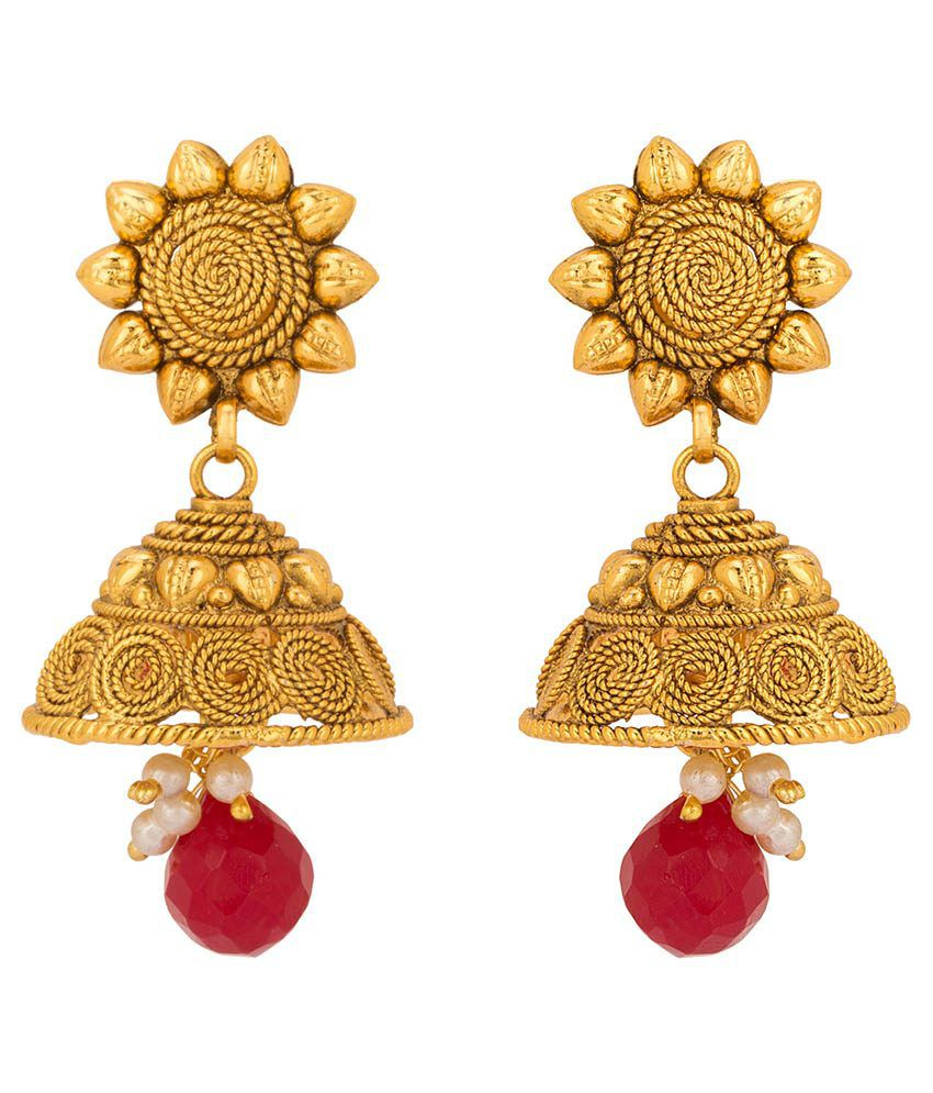 Rajwada Arts Traditional Style Red Color Jhumki Earringss