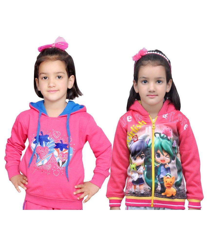 Shaun Pink Color Pack of 2 Printed Hooded Sweatshirt For Girls
