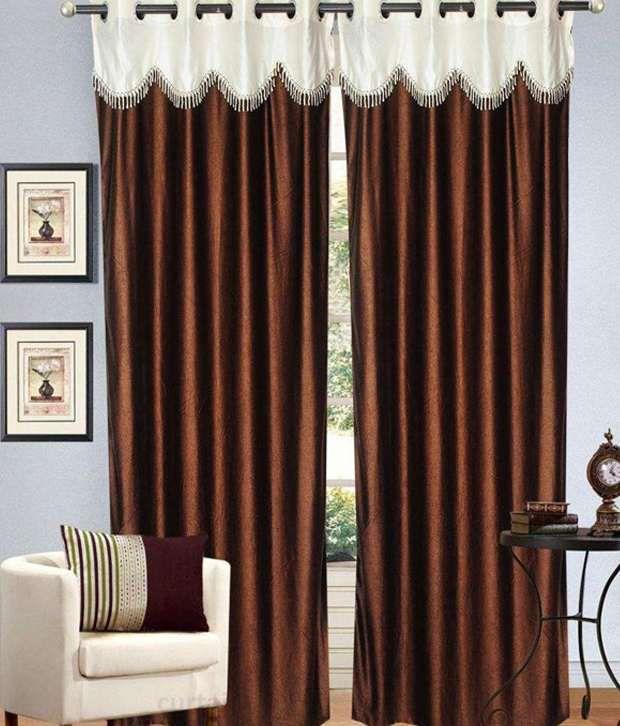 Tanishka Fabs Set of 2 Door Eyelet Curtains Floral Brown