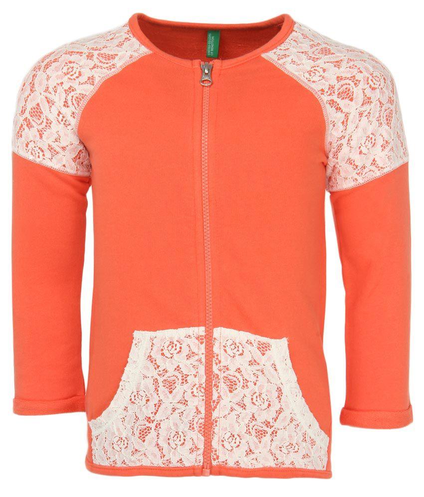 United Colors Of Benetton Coral Zippered Sweatshirt