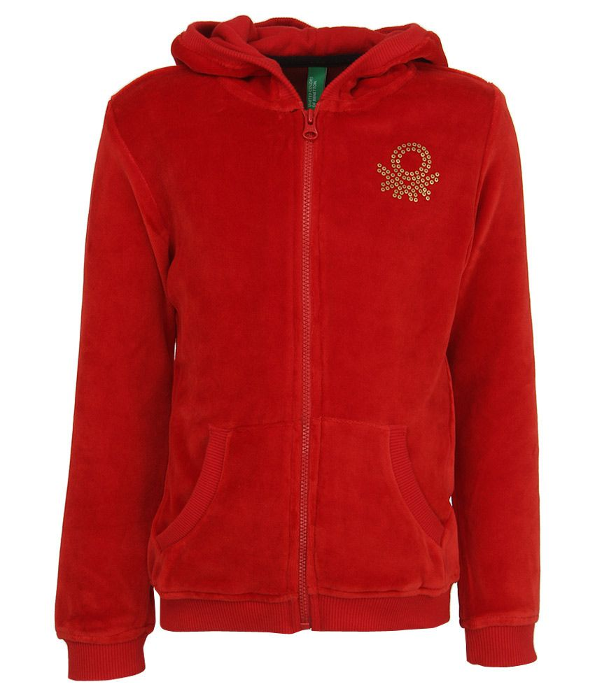 United Colors Of Benetton Red Hooded Zippered Sweatshirt