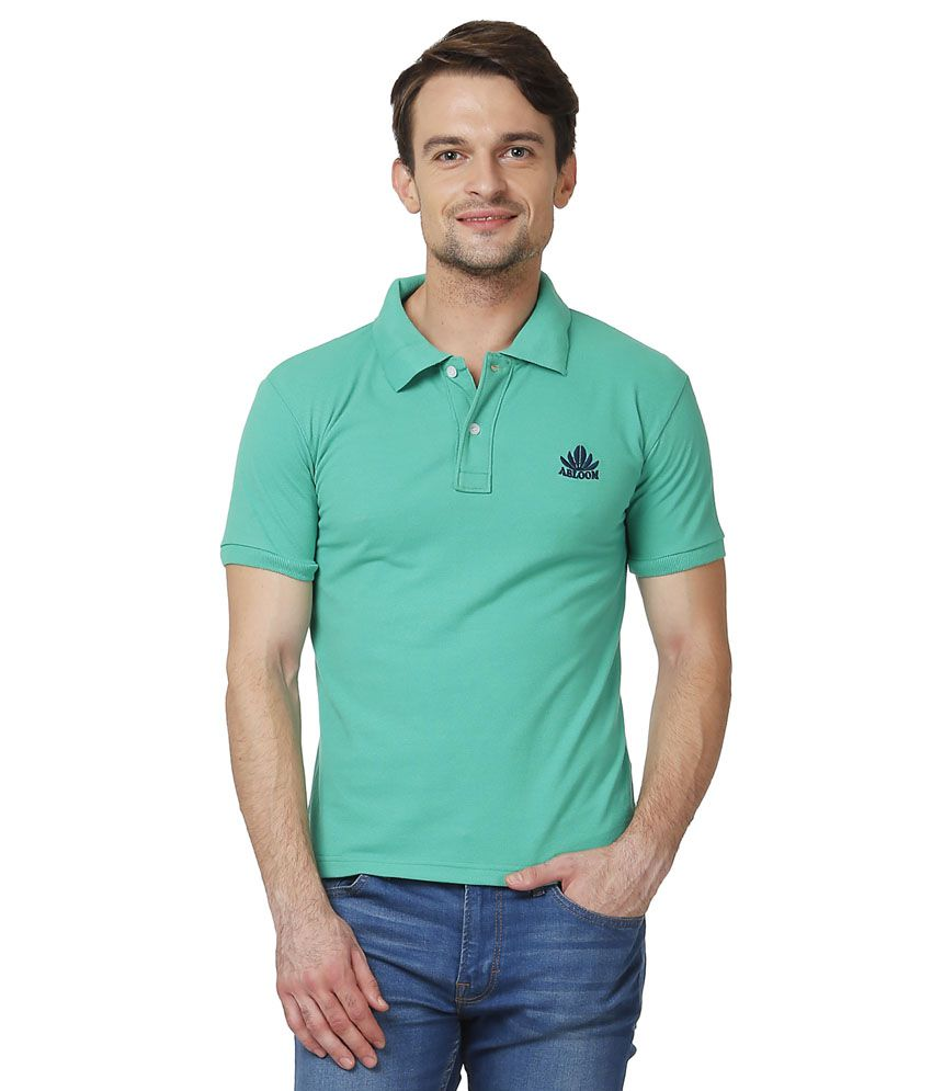 Abloom Green Cotton Blend Half Sleeves Polo T-Shirt