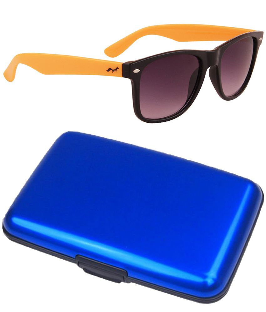 Fastfox Combo Of Orange Medium Men Wayfarer Sunglasses With Blue Card Holder