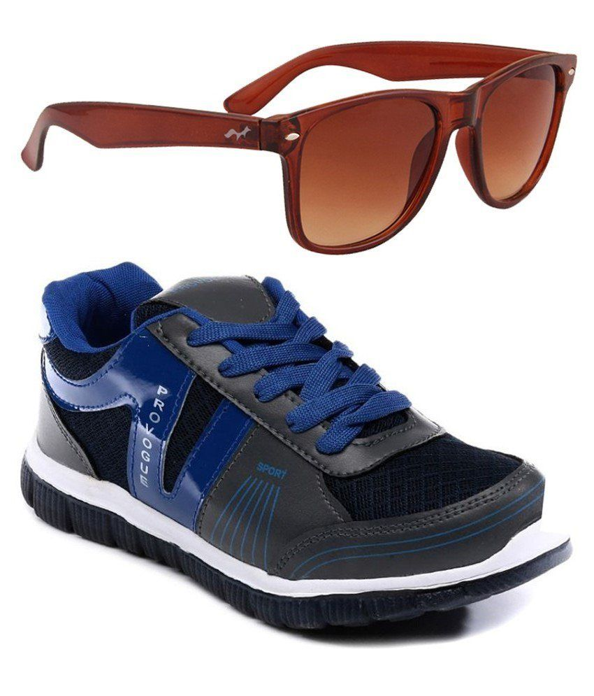 Provogue Combo Of Blue Sports Shoes With Sunglasses