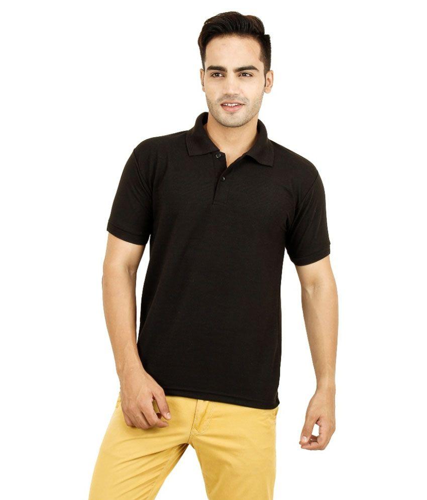 Vijyalakshmi Textiles Black Half Sleeves Polo T-shirt - Pack Of 2