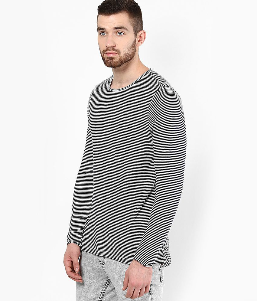 Black t shirt buy online -  T Shirt Jack Jones Black White Striped Round Neck