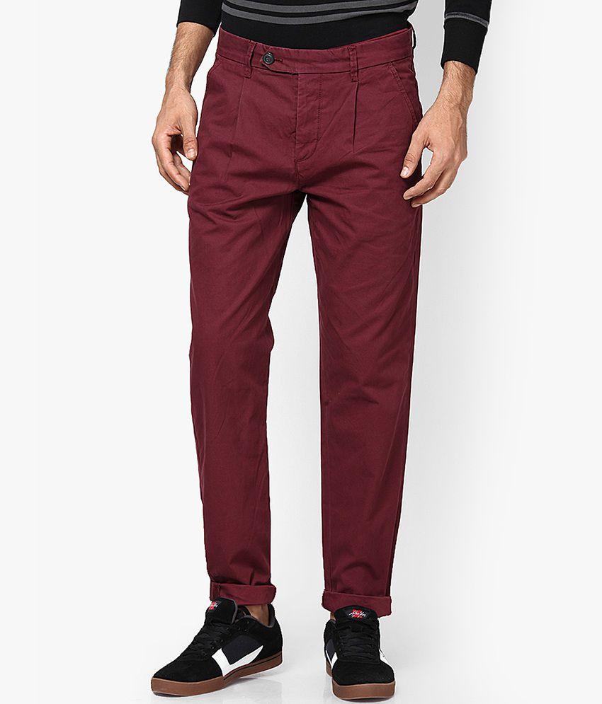 Jack & Jones Burgundy Regular Fit Casual Trousers