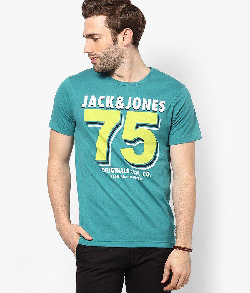 Jack & Jones Teal Green Printed Round Neck T-Shirt
