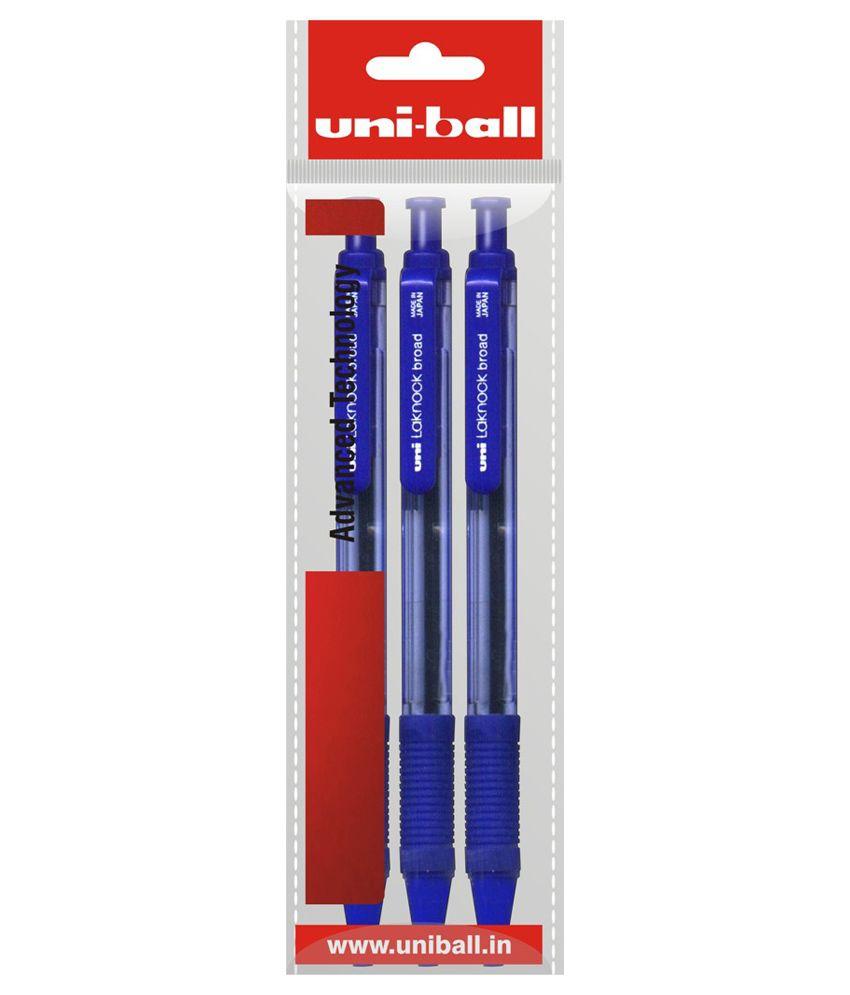 Uniball Lacknock Blue Ball Pen - Pack of 3