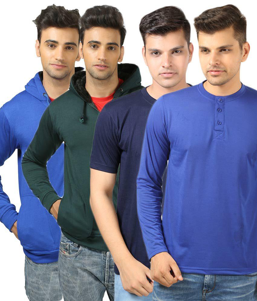 Etoffe Combo of 4 Multicolour Cotton Blend T-Shirt