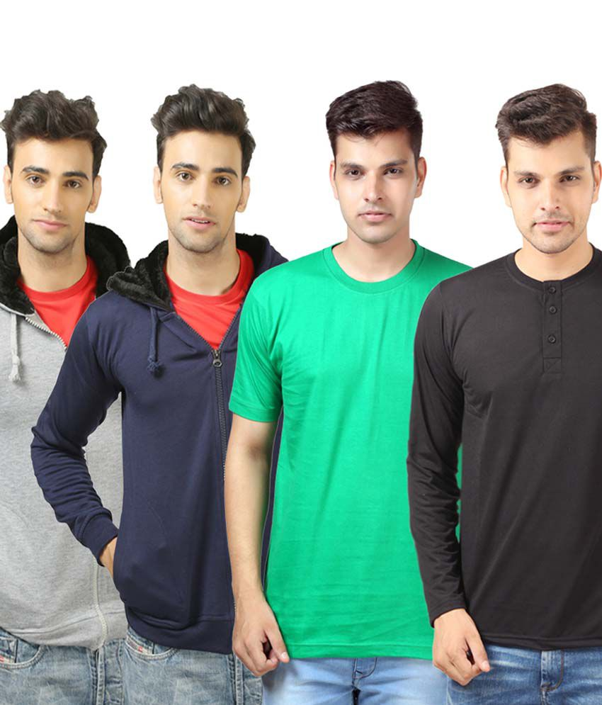 Etoffe Multicolour Cotton Blend T-Shirt with 2 Sweatshirt and Henley T-Shirt