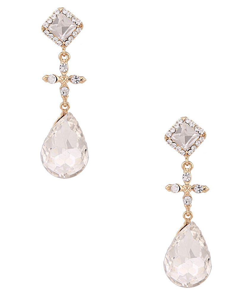 Glitter Bebe White Alloy Diamante Dangle Earrings