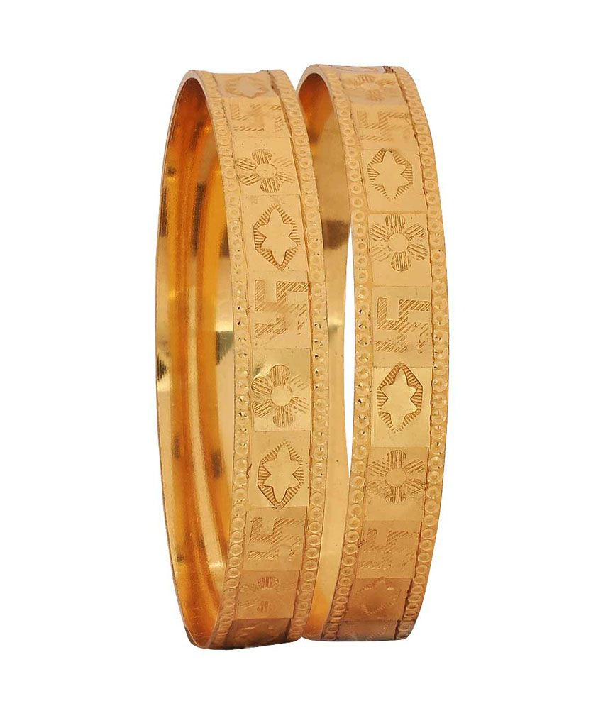 Maayra Gold Brass Bangle Set