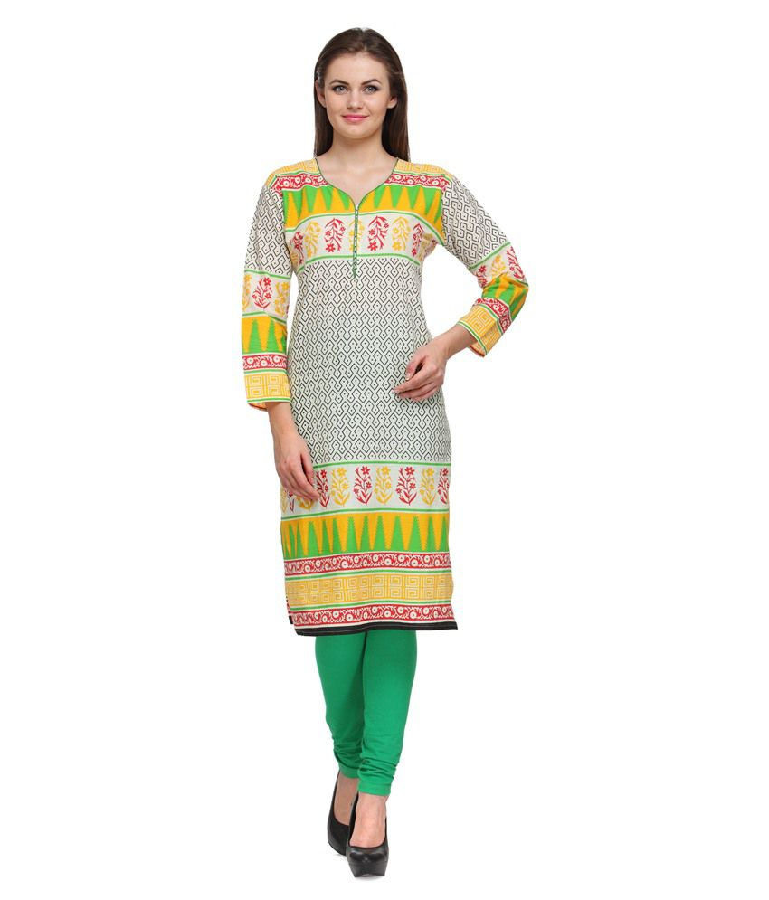 Prafful Yellow Cotton Geometric  Printed Straight Kurti