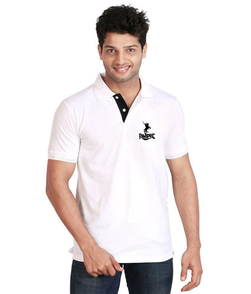 T shirt white colour - Rajputa Brothers Bhati Rajput Logo White Colour Half Sleeves Rajputana Polo T Shirt
