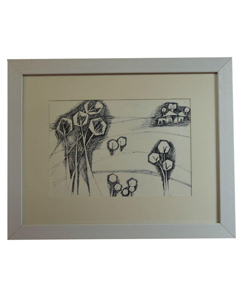 Rangvas White Wooden Forest Handmade Sketch