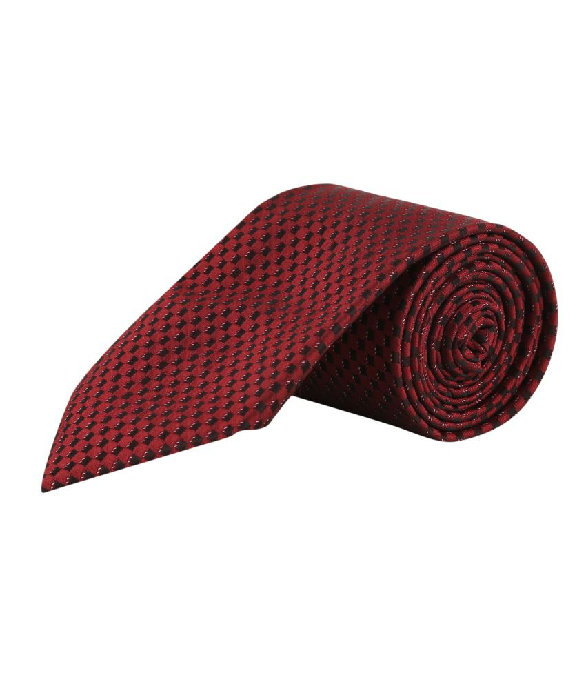 Tie & Cuffs Maroon Micro Fiber Formal Broad Ties With Pocket Square And Cufflinks
