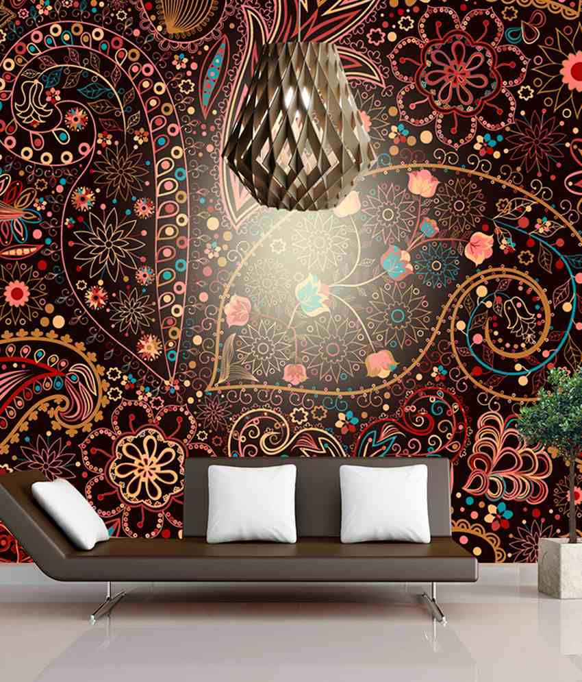 ... FineArts Digitally Printed Wallpaper   Floral Art With Printed 3D Show  Pieces ...