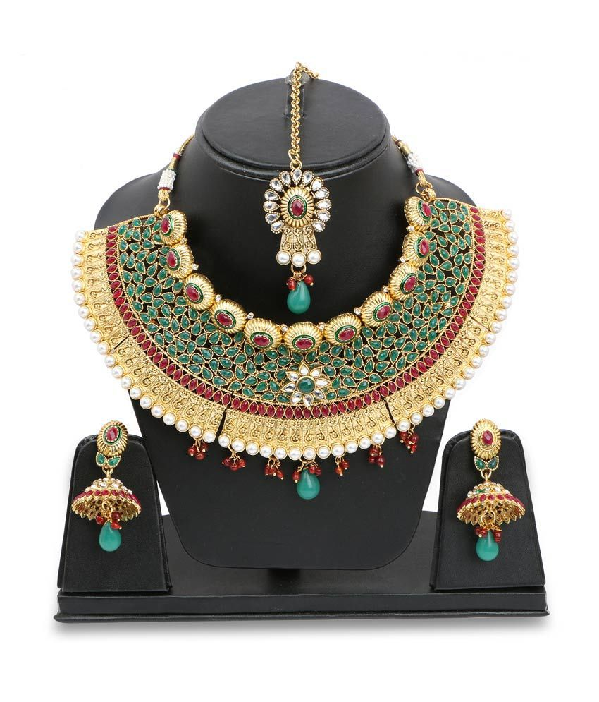 Johareez Multicolour Alloy Gold Plated Necklace Set