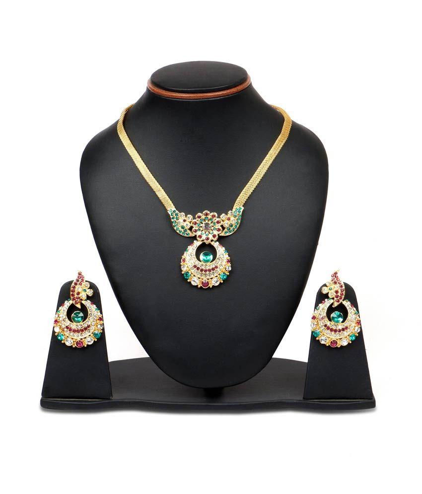 Johareez Multicolour Alloy Gold Plated Necklace Set