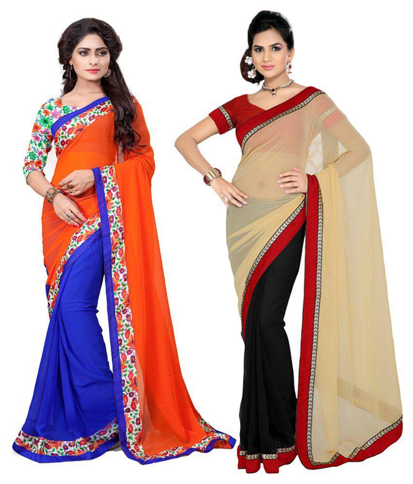 Aashvi Creation Multicolour Faux Georgette Pack of 2