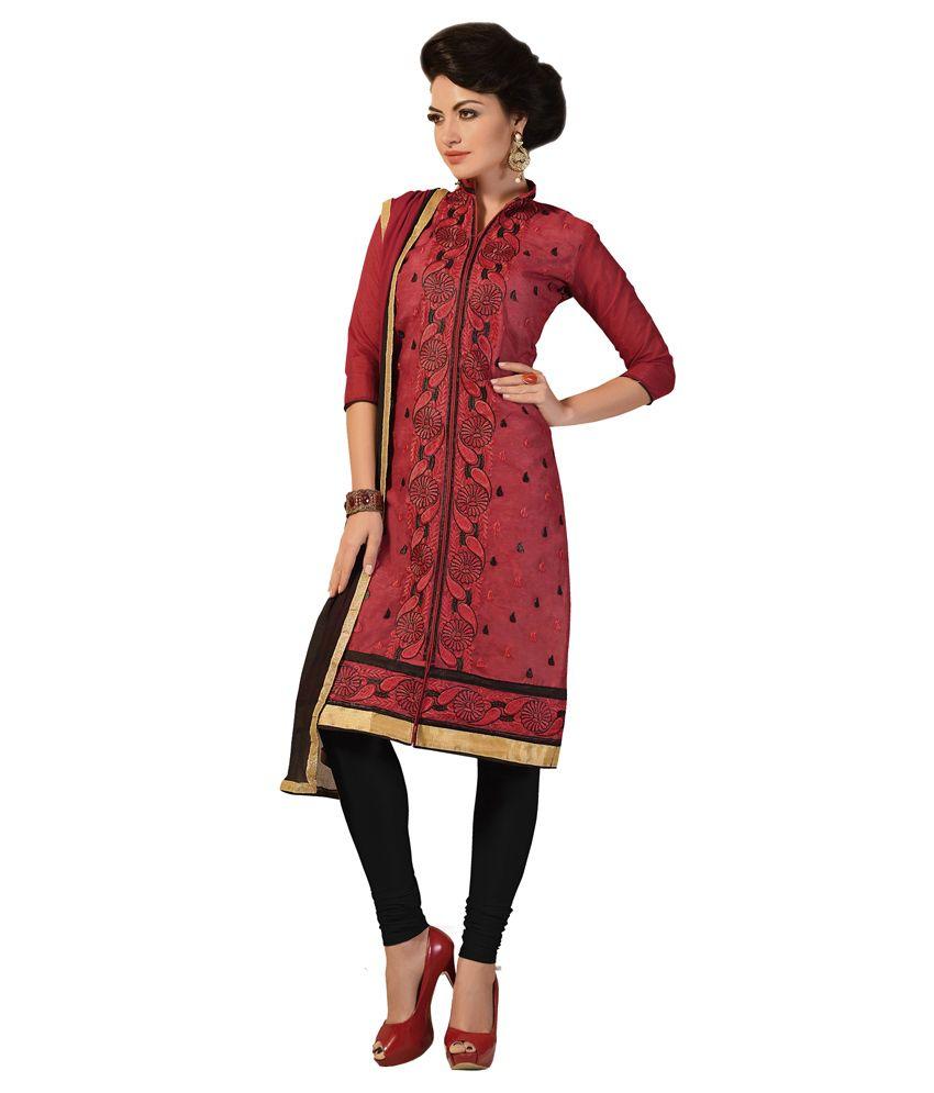 Trendz Apparels Maroon Chanderi Unstitched Dress Material