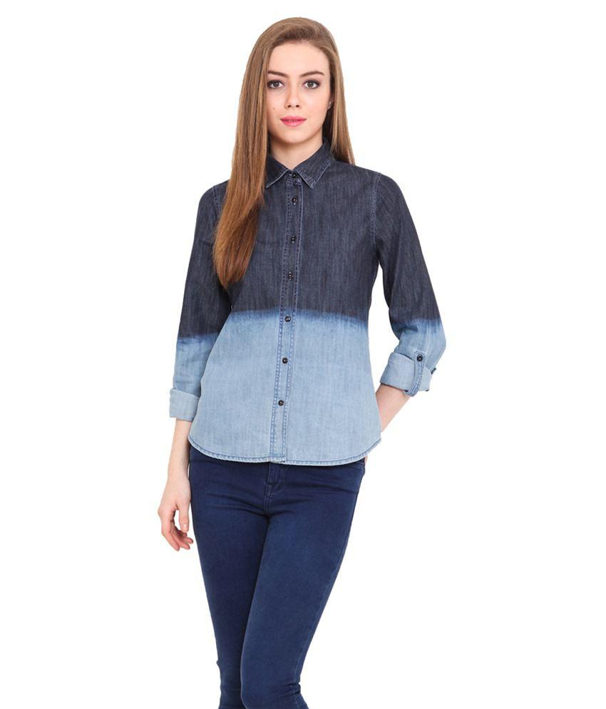 Pryma Donna Blue Cotton Shirts