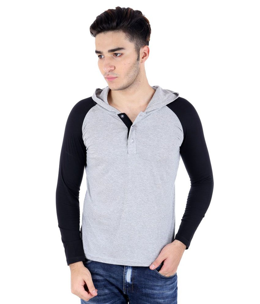 Big Idea Smart Grey & Black Cotton Hooded T-shirt