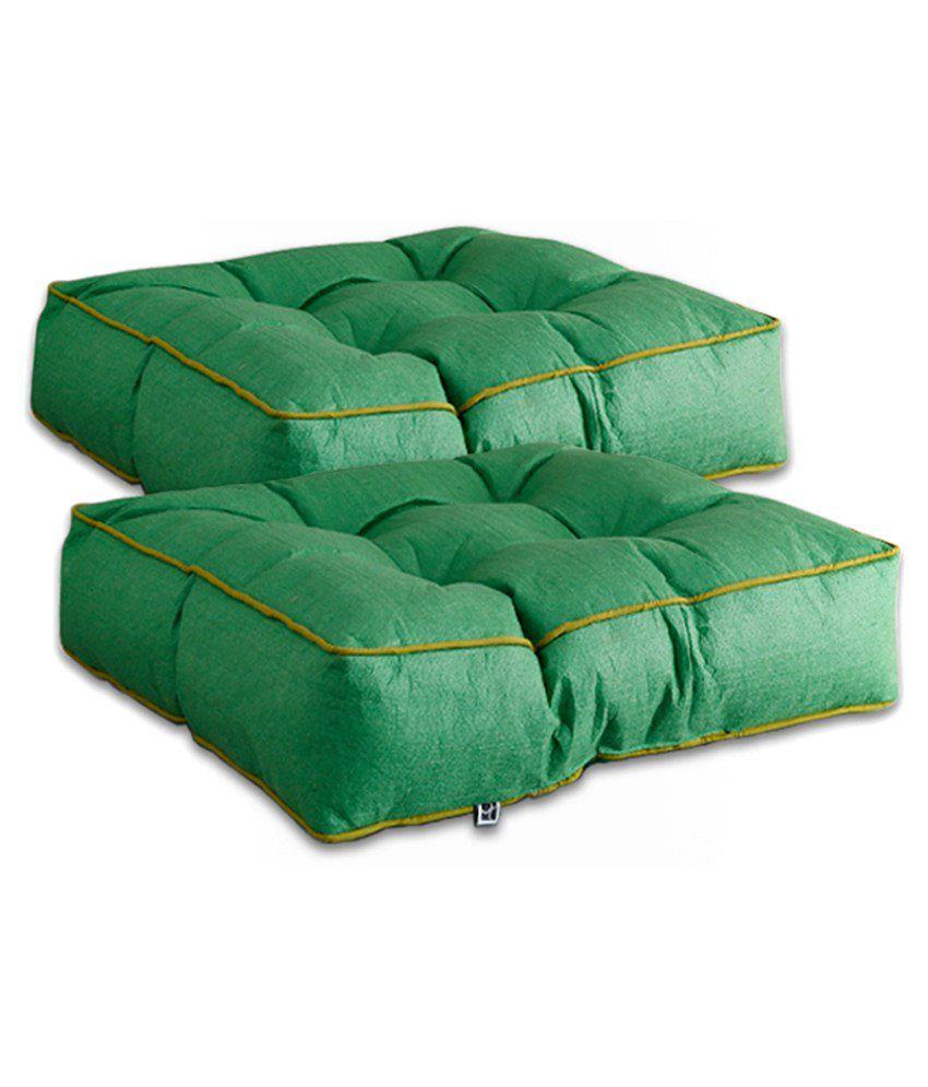 Dwellduo Green Filled Cushions Set Of 2