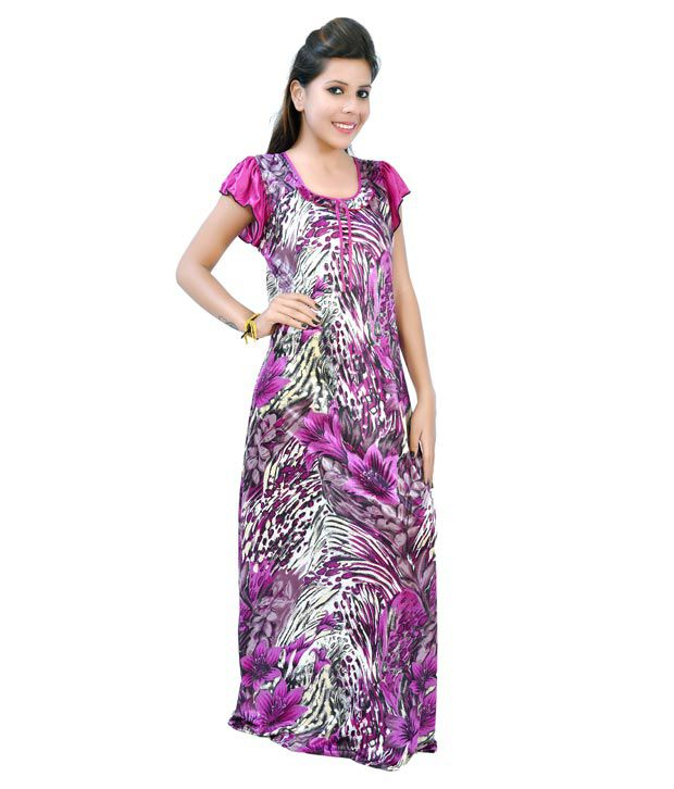 Fashion Zilla Pink Designer Printed Night Gown Set Of 1