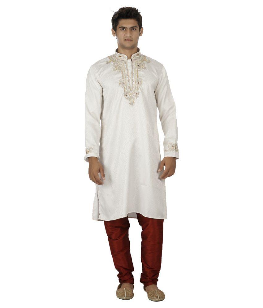 Koras White Wedding Wear Silk Blend Long Kurta Pyjama Set