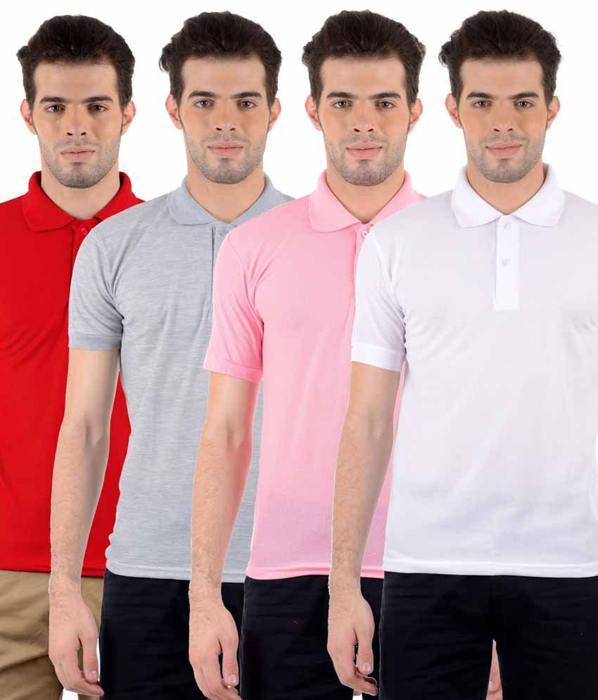 Gdivine Multicolor Half Sleeve Basic Polo T-shirt - Pack Of 4