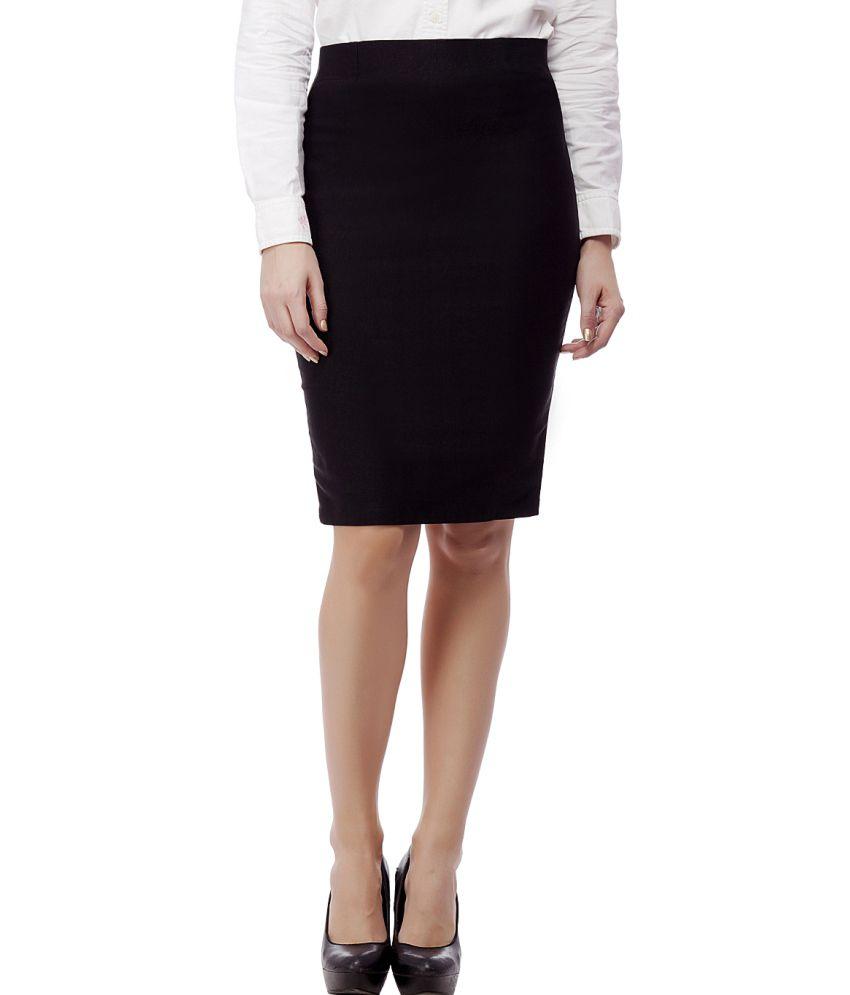 buy purple feather black cotton lycra pencil skirt