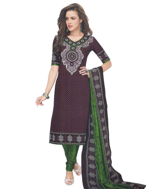 Party Wear Dresses Brown Cotton Unstitched Dress Material