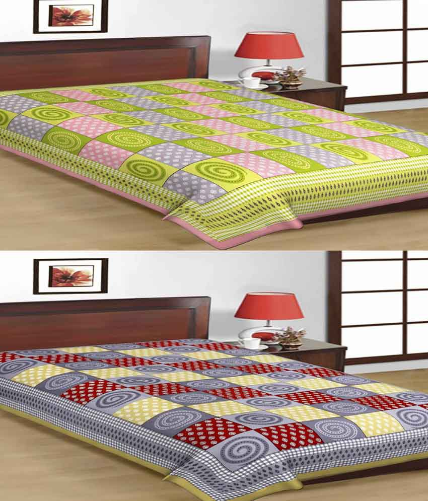 UniqChoice 100% Cotton Jaipuri Traditional Printed 2 Single BedSheet