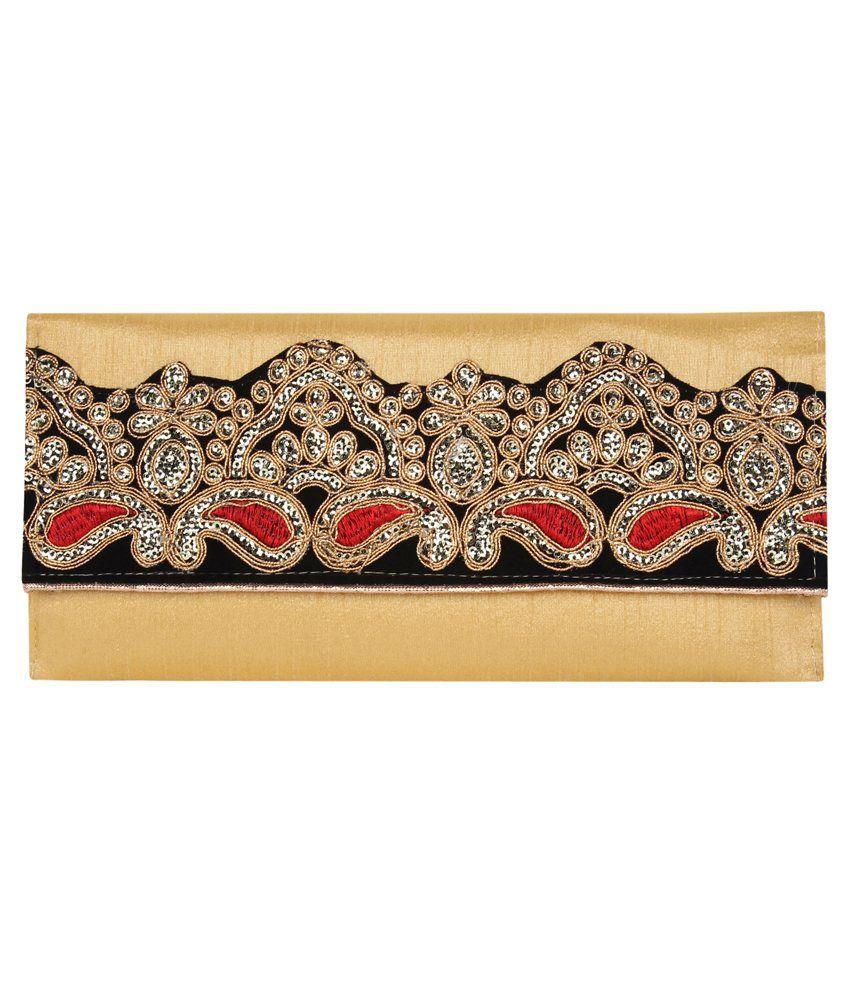 Anekaant Gold Silk Clutch