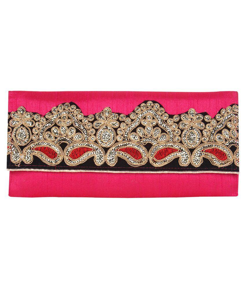 Anekaant Pink Silk Clutch